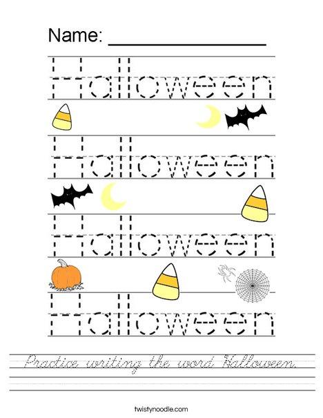 Practice writing the word Halloween. Worksheet