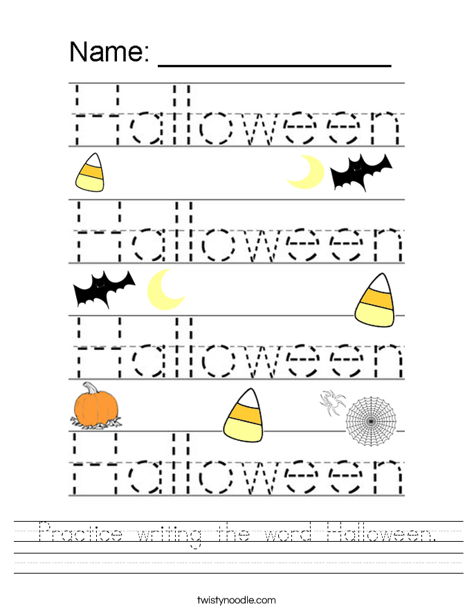 Printable Worksheets halloween homework worksheets : Practice writing the word Halloween Worksheet - Twisty Noodle