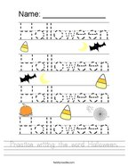 Practice writing the word Halloween Handwriting Sheet