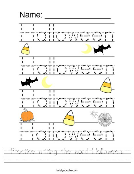 Practice writing the word Halloween. Worksheet