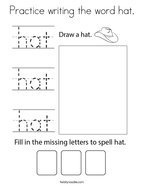 Practice writing the word hat Coloring Page