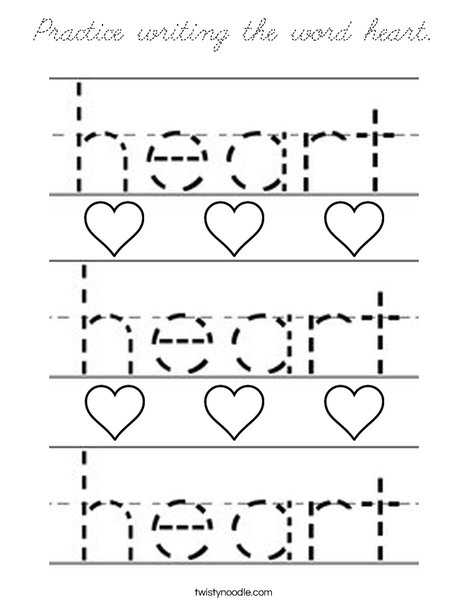 Practice writing the word heart. Coloring Page