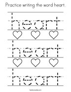 Practice writing the word heart Coloring Page