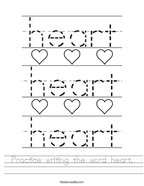 Practice writing the word heart Handwriting Sheet