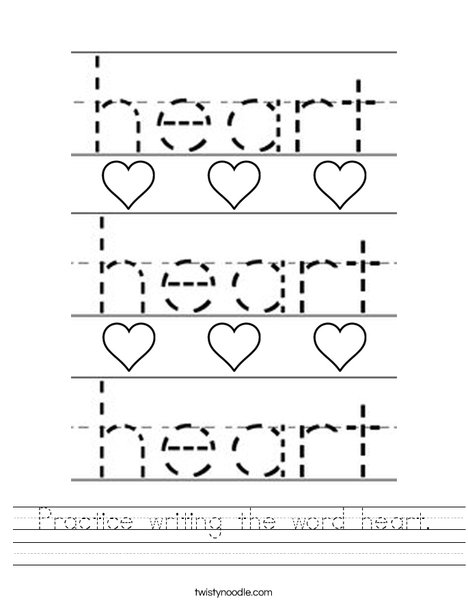 Practice writing the word heart. Worksheet