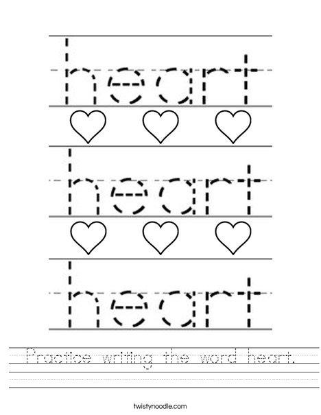 Practice writing the word heart. Worksheet