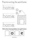 Practice writing the word home. Coloring Page