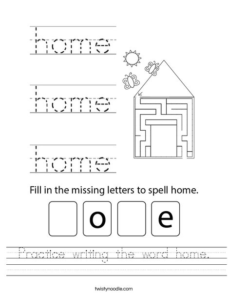 Practice writing the word home. Worksheet