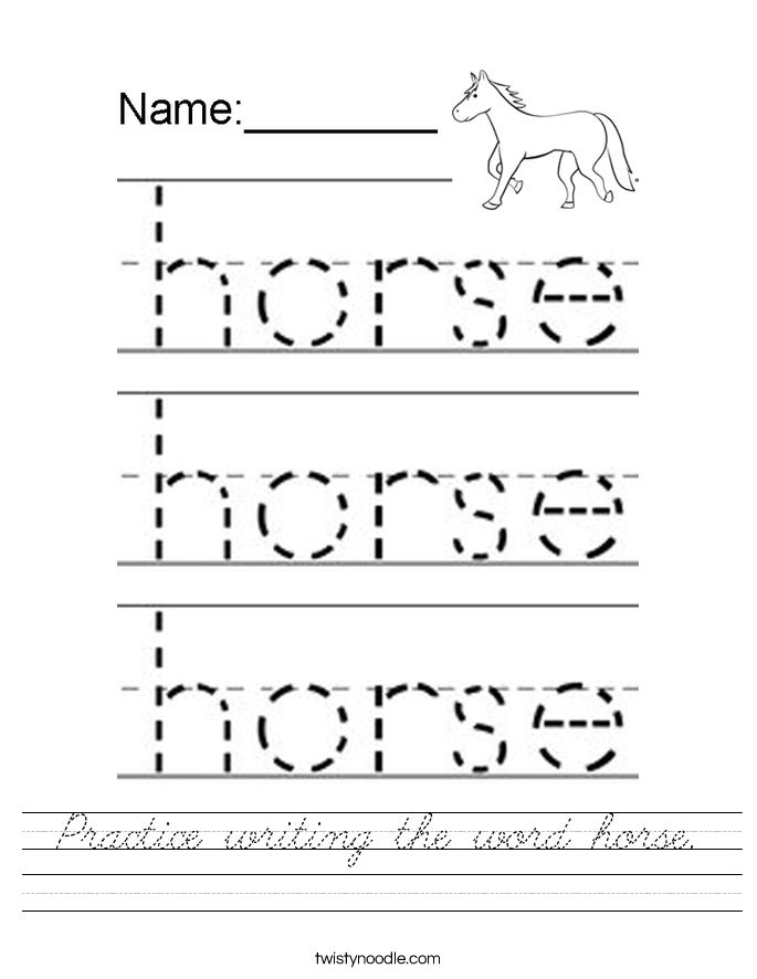 Practice writing the word horse. Worksheet