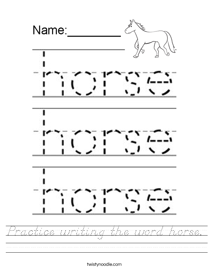 Practice writing the word horse. Worksheet