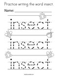 Practice writing the word insect. Coloring Page