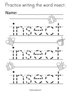 Practice writing the word insect Coloring Page