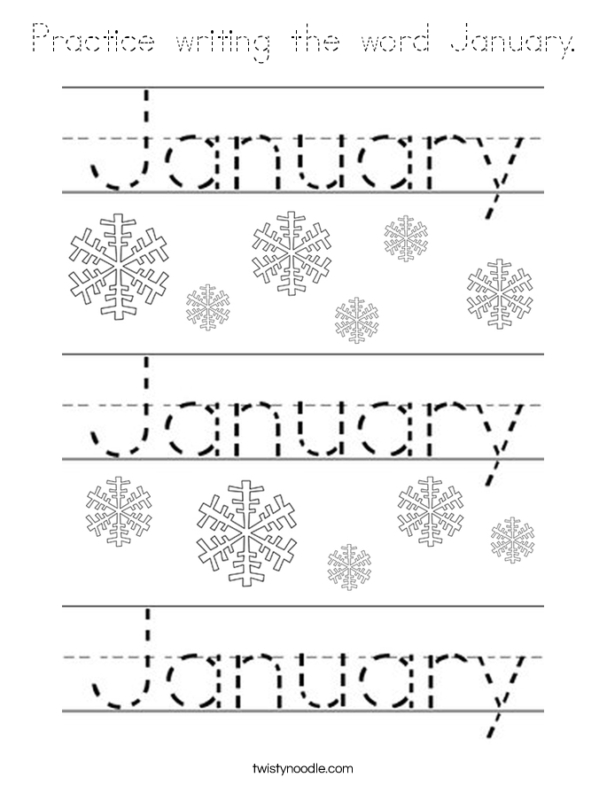 Practice Writing The Word January Coloring Page Tracing