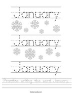Practice writing the word January Handwriting Sheet