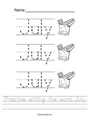 Practice writing the word July Handwriting Sheet