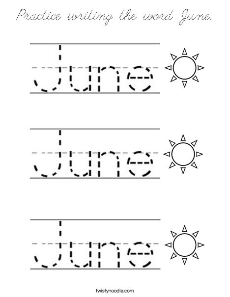 Practice writing the word June. Coloring Page
