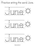 Practice writing the word June Coloring Page