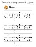 Practice writing the word Jupiter. Coloring Page