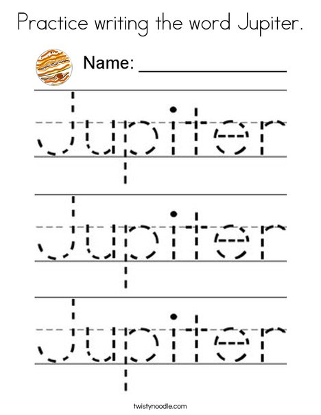 Practice writing the word Jupiter Coloring Page