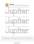 Practice writing the word Jupiter Handwriting Sheet