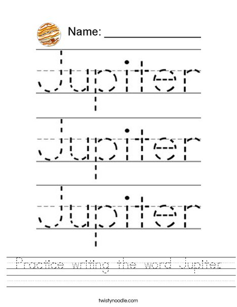 Practice writing the word Jupiter Worksheet