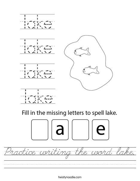 Practice writing the word lake. Worksheet