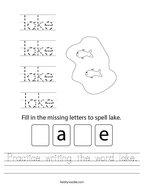 Practice writing the word lake Handwriting Sheet