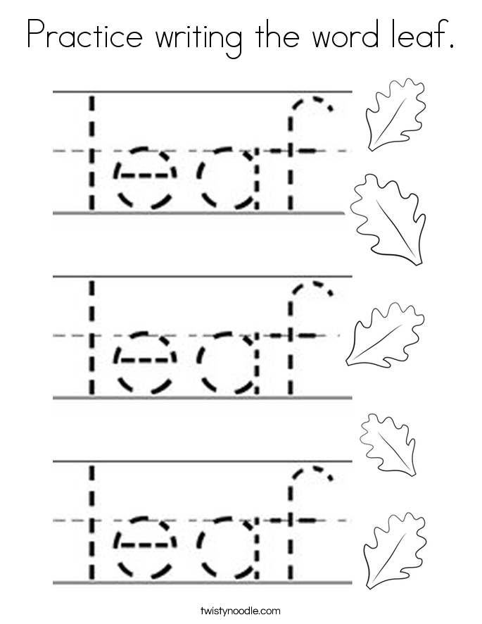 Practice writing the word leaf. Coloring Page