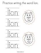 Practice writing the word lion Coloring Page