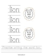 Practice writing the word lion Handwriting Sheet