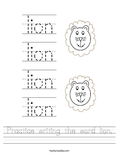 Practice writing the word lion. Worksheet