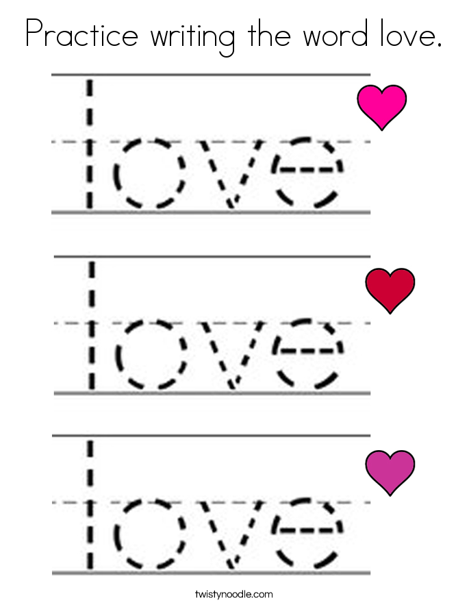 Practice writing the word love. Coloring Page