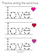 Practice writing the word love Coloring Page
