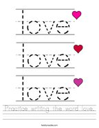 Practice writing the word love Handwriting Sheet