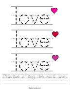 Practice writing the word love Handwriting Sheet