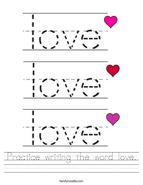 Practice writing the word love. Worksheet