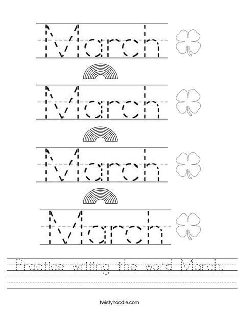 Practice writing the word March. Worksheet
