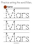 Practice writing the word Mars. Coloring Page