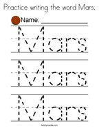 Practice writing the word Mars Coloring Page
