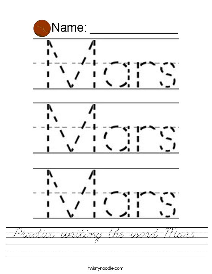 Practice writing the word Mars. Worksheet