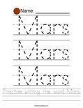 Practice writing the word Mars. Worksheet