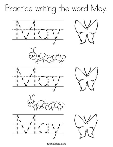 practice writing the word may coloring page twisty noodle
