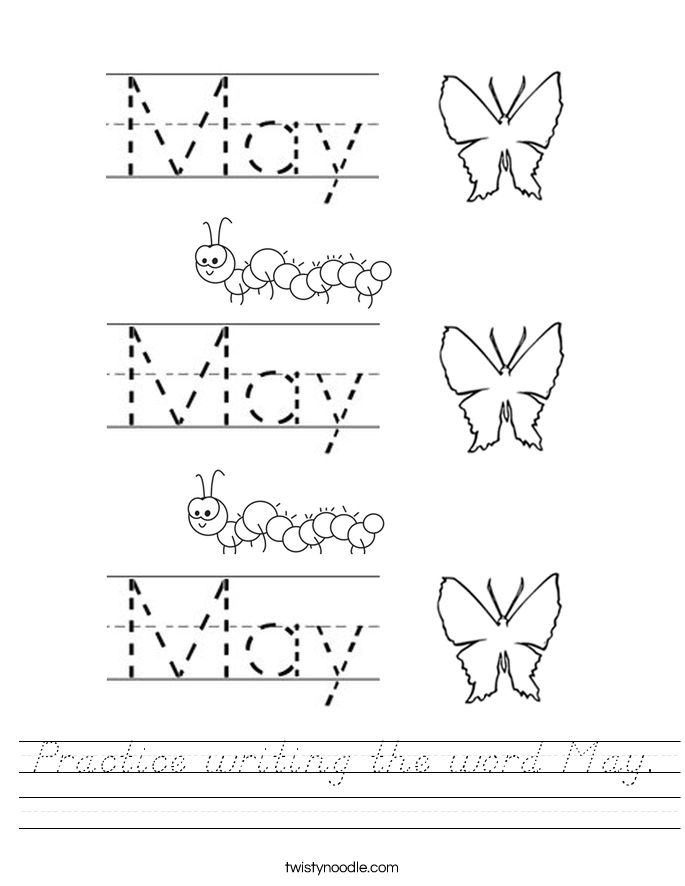 Practice writing the word May. Worksheet