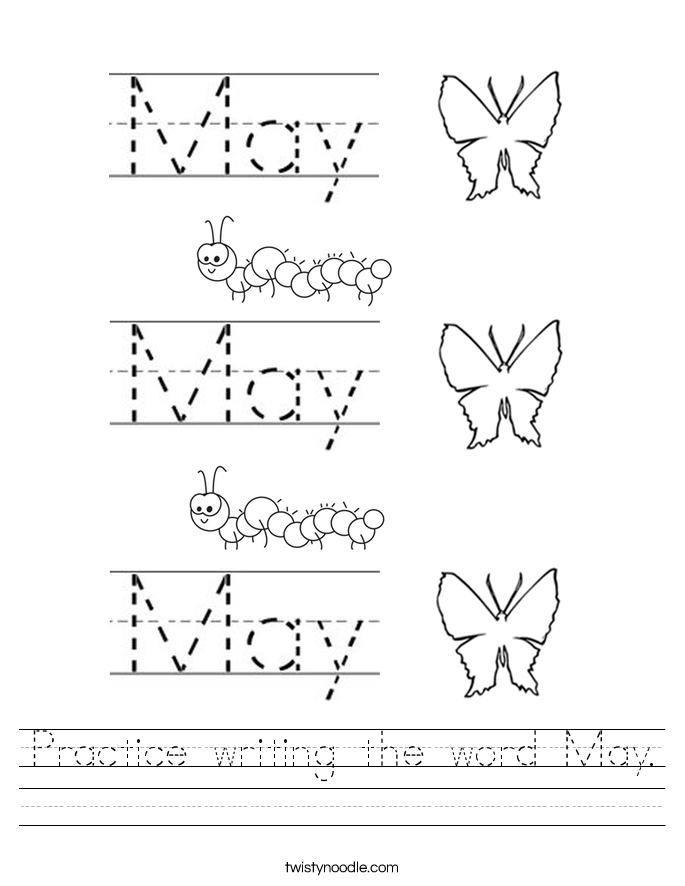 practice writing the word may worksheet twisty noodle. Black Bedroom Furniture Sets. Home Design Ideas