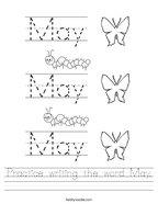 Practice writing the word May Handwriting Sheet