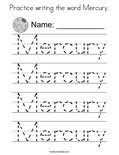 Practice writing the word Mercury. Coloring Page