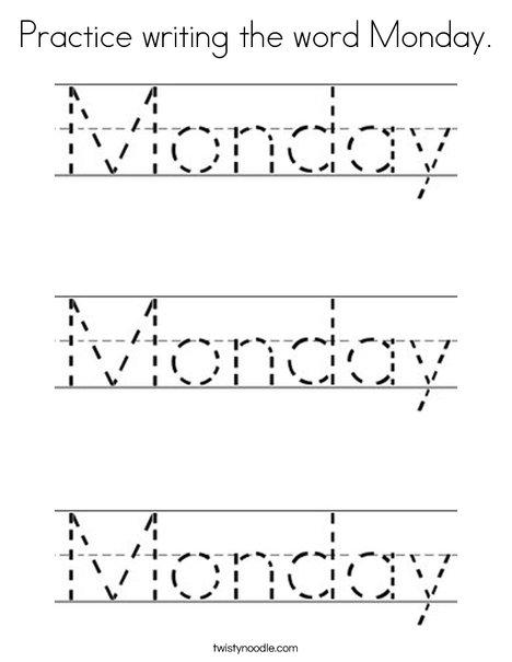 Monday Word Practice writin...