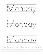 Practice writing the word Monday Handwriting Sheet