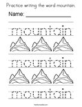 Practice writing the word mountain. Coloring Page