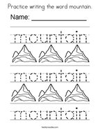 Practice writing the word mountain Coloring Page